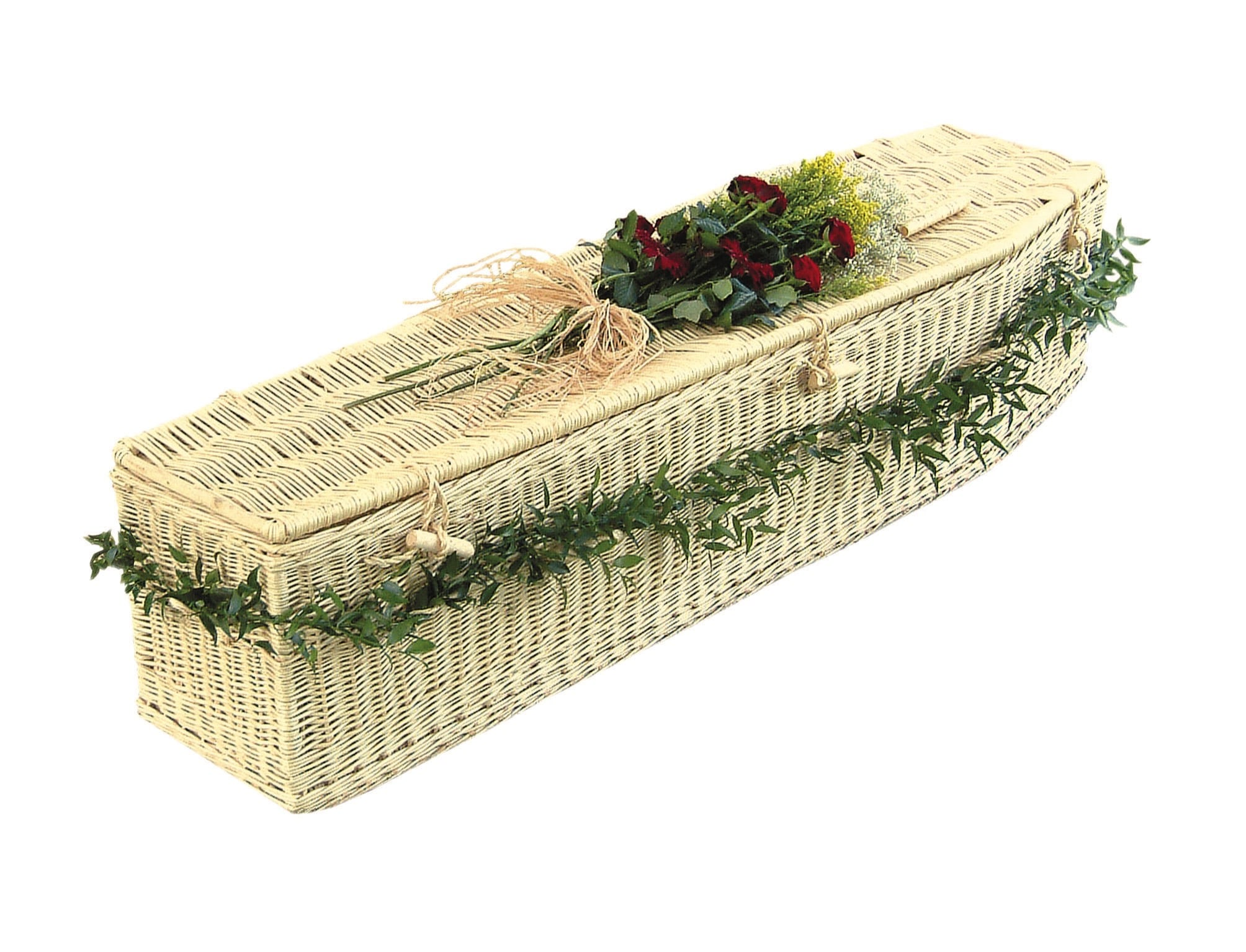 Light coloured wicker coffin with dark red flowers on top
