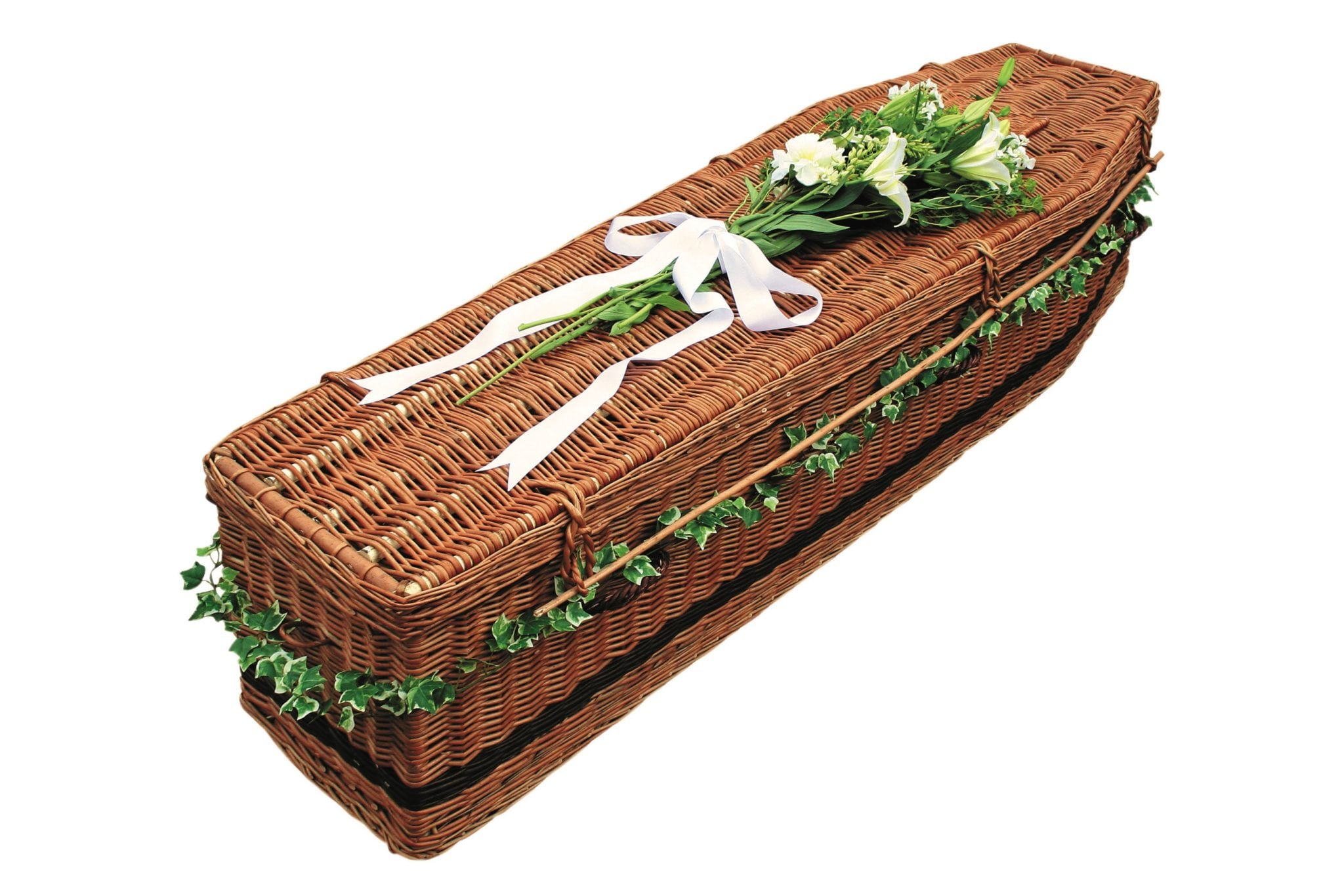 Dark wicker coffin with white flowers & ribbon on top