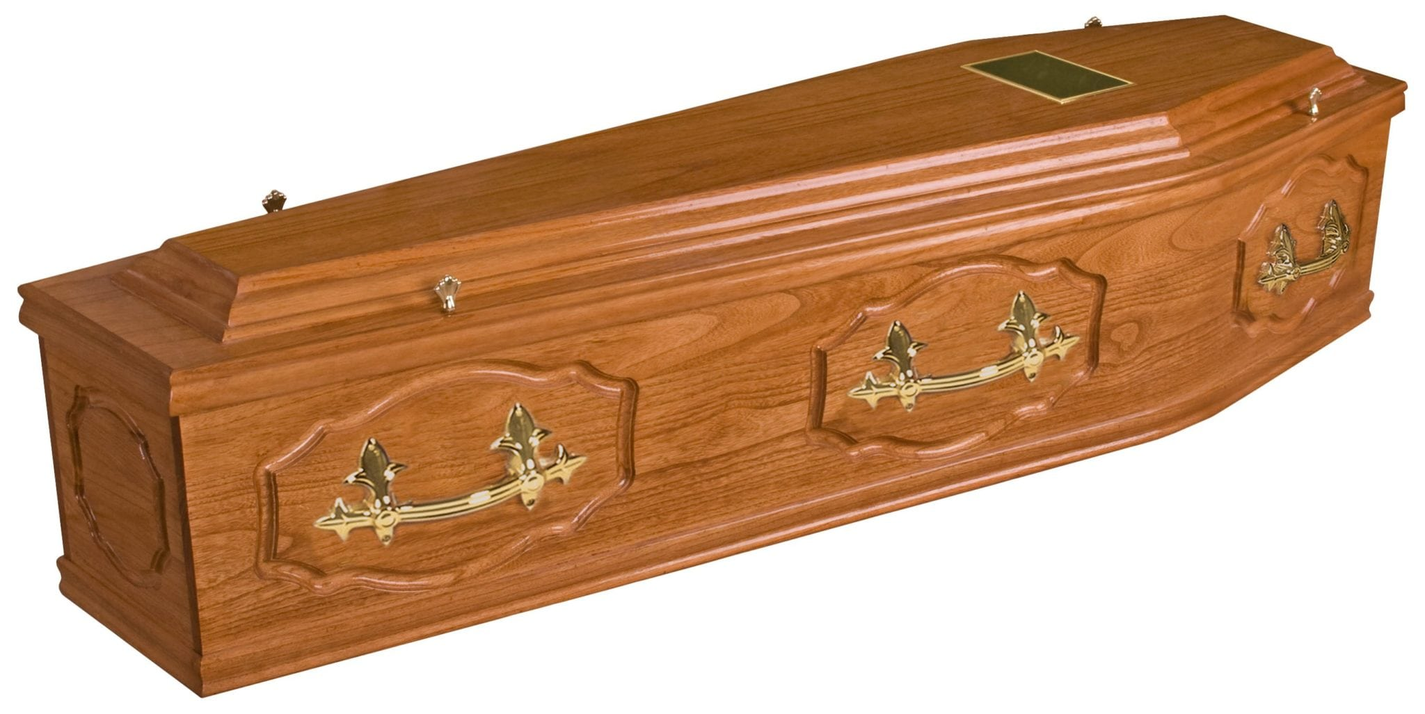 Large traditional wooden coffin