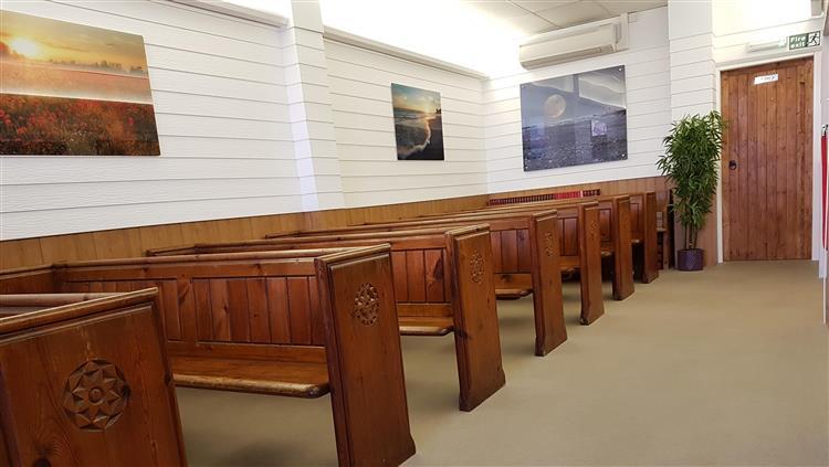 Pews in funeral room